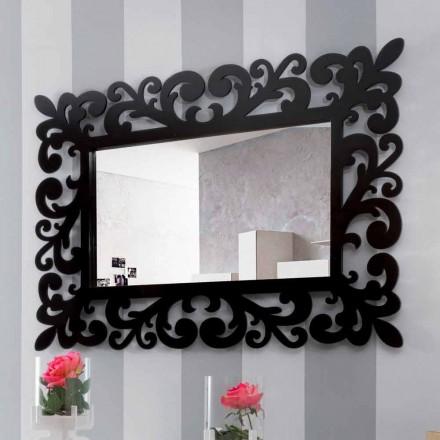 Espejo de pared rectangular grande de diseño moderno en madera negra - Manola