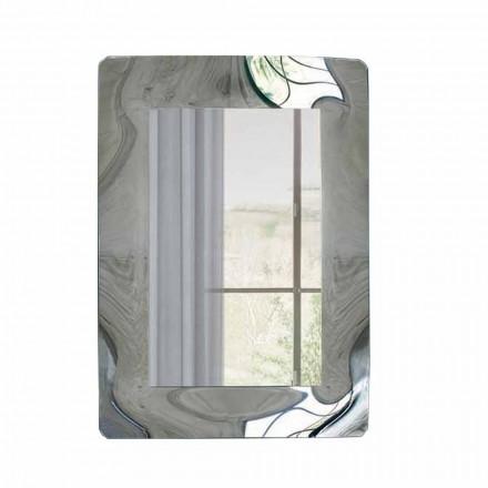 Espejo rectangular con marco de vidrio corrugado Made in Italy - Vira