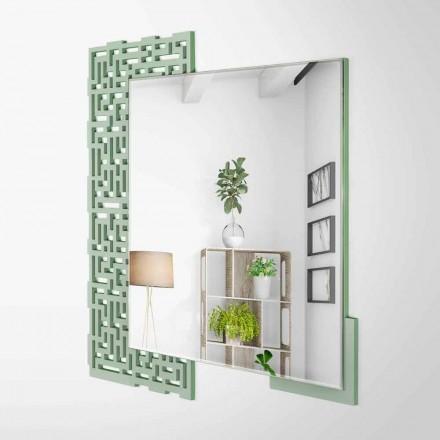Espejo de pared moderno de diseño cuadrado en madera verde decorada - Laberinto