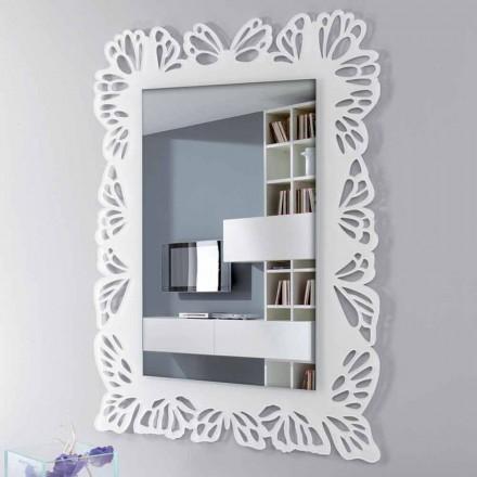 Espejo de pared de plexiglás blanco con marco rectangular decorado - Alidifarf