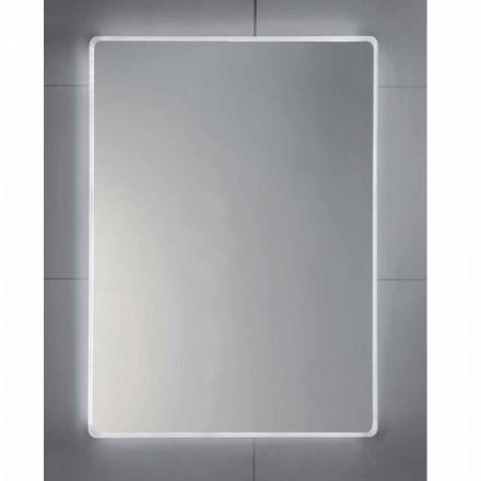Espejo de pared con bordes esmerilados, iluminación LED, Tessa