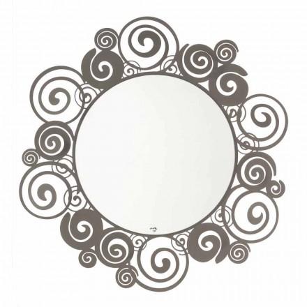 Espejo circular de pared de diseño moderno en hierro Made in Italy - Moira