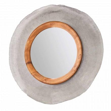Moderno espejo de pared en metal y teca Monno