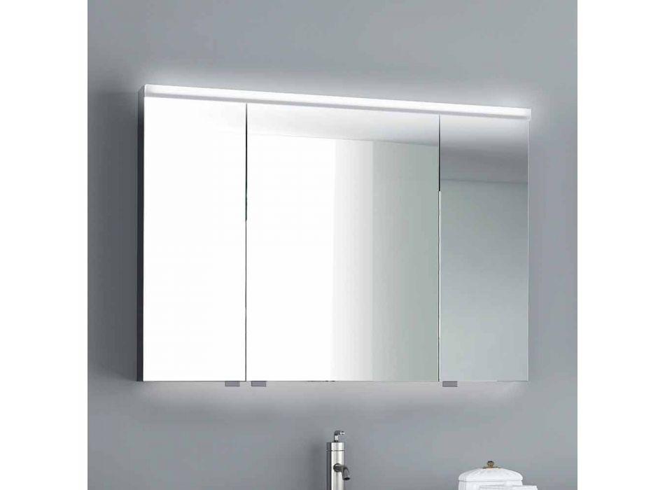 armario con espejo de iluminación LED con 3 puertas, diseño moderno, Carol