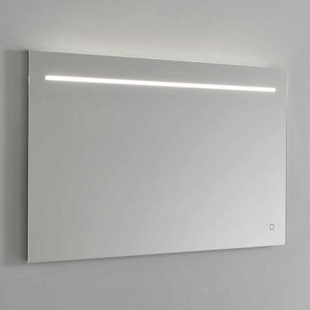 Espejo de pared moderno con luz LED y marco de acero Made in Italy - Yutta