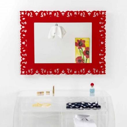 Espejo de pared rojo con decoración de Tonya macramé hecha en Italia