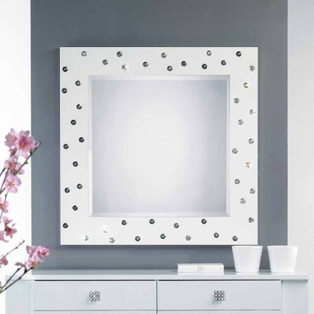 espejo de pared blanca con decoraciones en cristales de Swarovski Tiffany