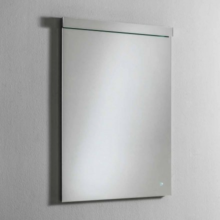 Espejo de pared con luz LED integrada en acero inoxidable Made in Italy - Tuccio