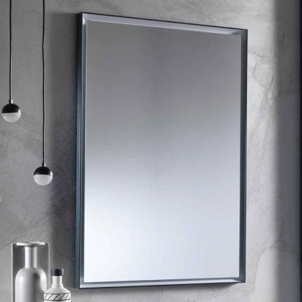 Espejo de pared con marco de aluminio y luz LED Made in Italy - Chik