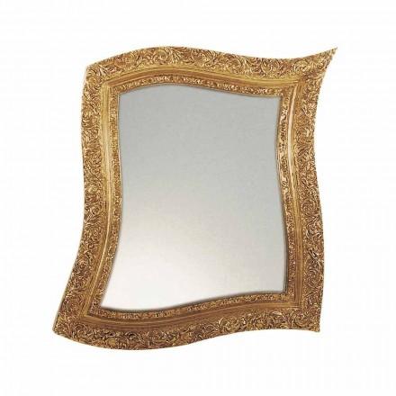 Espejo de pared de estilo barroco en hierro dorado y plateado Hecho en Italia - Rudi