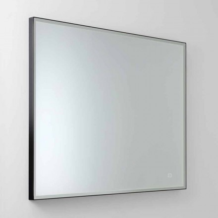 Espejo de pared cuadrado con LED en vidrio satinado Made in Italy - Mirro