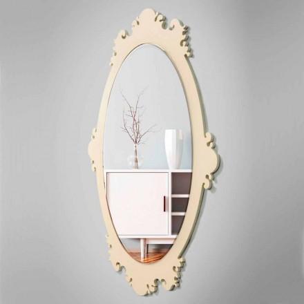 Espejo de pared vintage de madera marrón con marco - Giangio