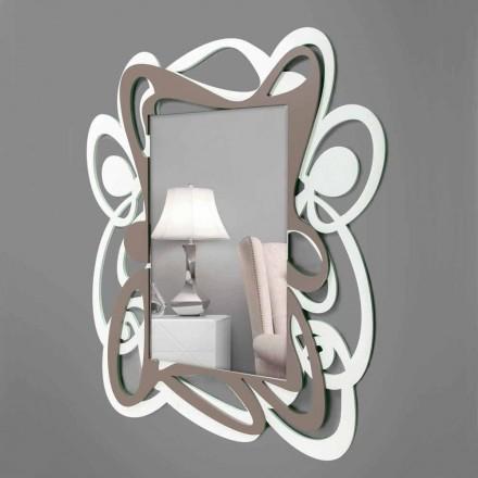 Espejo decorativo de pared de diseño moderno, grande, blanco y beige - Bocchio