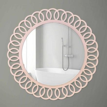 Espejo de pared grande de diseño moderno y decorativo en madera rosa - Corona