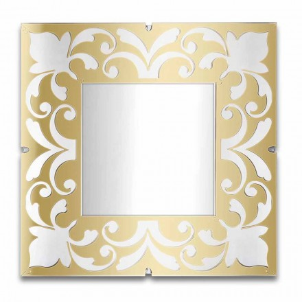 Marco de espejo cuadrado en plexiglás dorado, bronce, diseño plateado - Foscolo