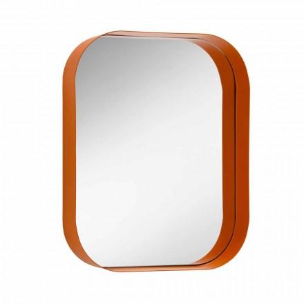 Espejo rectangular redondeado, marco de metal Made in Italy - Alexandra