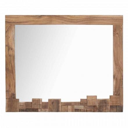 Espejo de pared moderno rectangular con marco de madera de acacia - Eloise