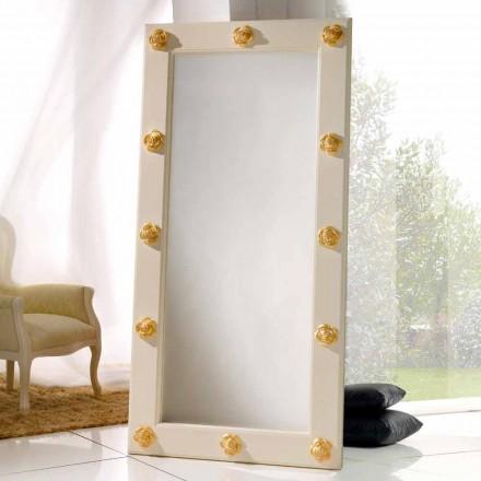 Vertical espejo de piso / pared con decoraciones Abel, hecho a mano