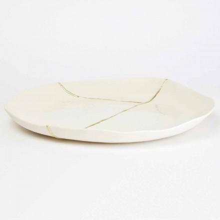 Bandeja valet redonda en porcelana blanca y diseño pan de oro - Cicatroro