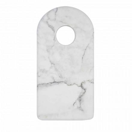 Tabla de cortar moderna de diseño de mármol blanco de Carrara hecha en Italia - Amros