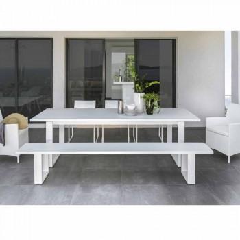 Banco de jardín de aluminio blanco Talenti Essence hecho en Italia