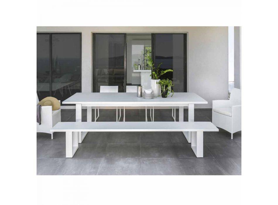 Banco de jardín Talenti Essence en aluminio blanco hecho en Italia