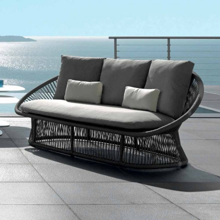 Sofá de jardín Talenti Rope con estructura de aluminio fabricado en Italia