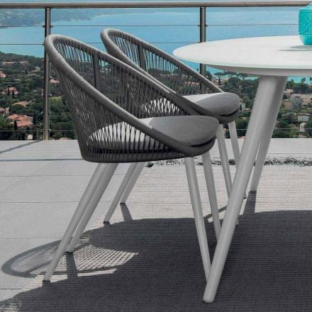 Silla de jardín Talenti Rope en aluminio pintado fabricado en Italia