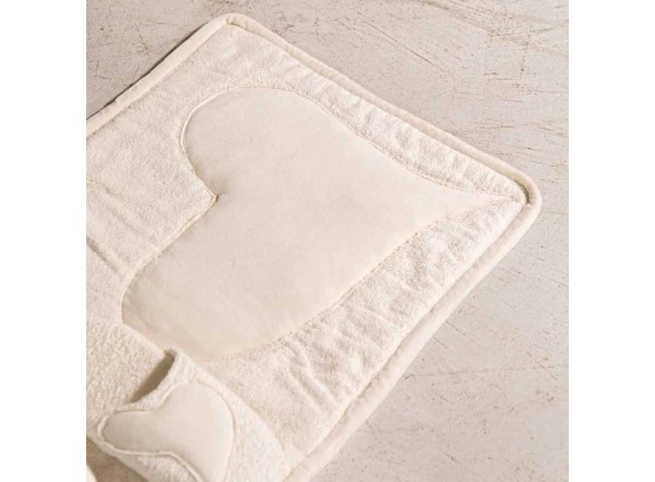 Alfombra de baño de felpa de algodón blanco natural con decoración de corazón - Sullivan