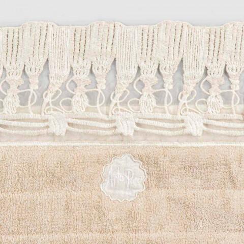 Alfombra de baño rectangular de felpa de algodón con encaje de borlas de lujo - Lippon