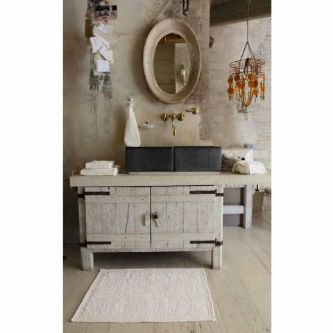 Alfombra de baño de esponja rectangular blanca Shabby Chic Design - Ginova