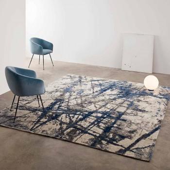 Alfombra de salón de diseño moderno con patrón en seda de bambú y lana - Laptos