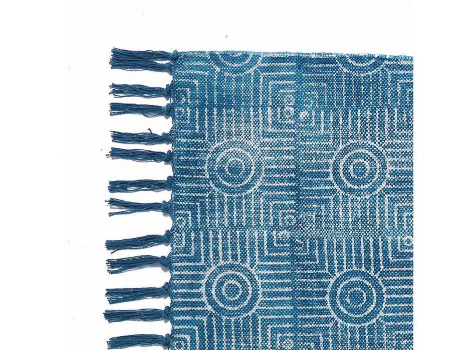 Alfombra rectangular de tela de color étnico con borlas - Fibraù