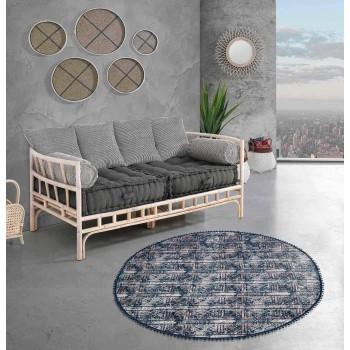 Alfombra redonda étnica en tela de algodón de colores - Fibra