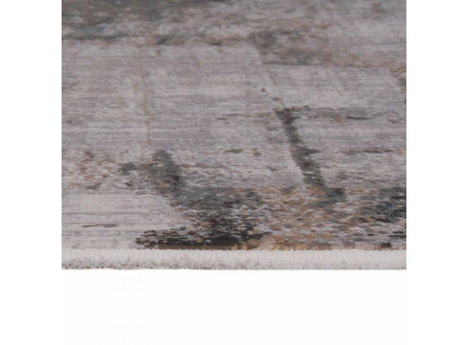 Alfombra antideslizante gris beige en viscosa y acrílico con diseño - Presidente