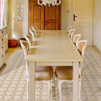 Alfombra de vinilo rectangular de diseño moderno para sala de estar - Dorado