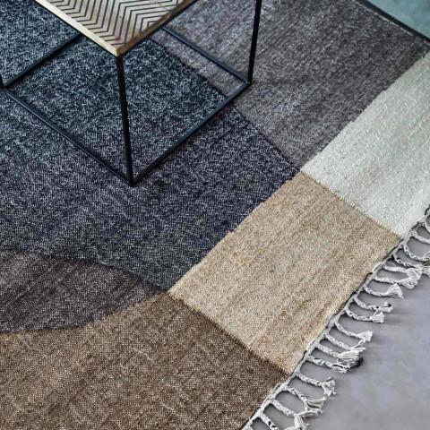 Alfombra de yute y algodón tejida a mano en India Diseño abstracto - Lingo