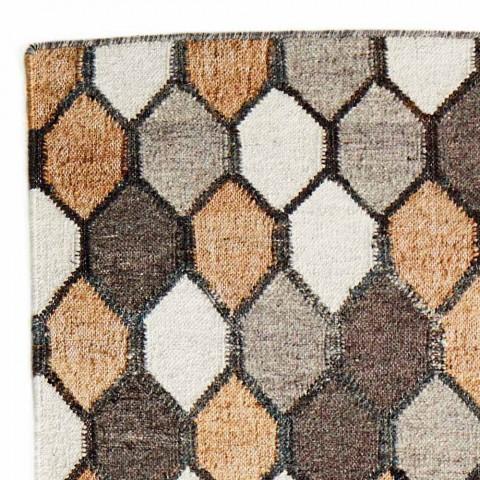 Alfombra de diseño moderno con motivo geométrico en lana y algodón - Tapioca