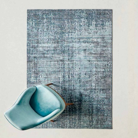 Alfombra moderna para sala de estar anudada a mano en seda de bambú y algodón - Buba