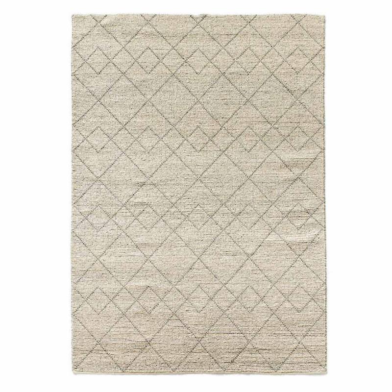 Alfombra moderna para sala de estar tejida a mano con diseño geométrico de lana - Geome