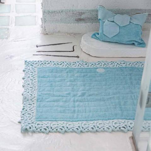 Alfombra de baño en felpa de algodón y lino con encaje Poema 2 colores - Cuorotto