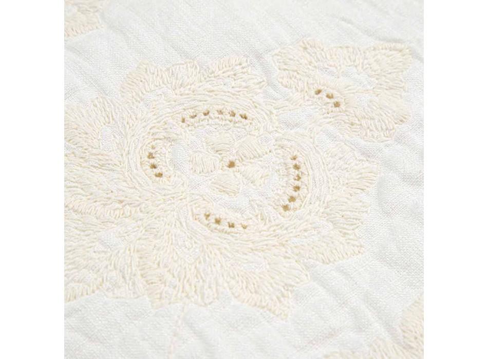 Alfombra de baño rectangular de lino blanco natural con bordado gótico - Muriel