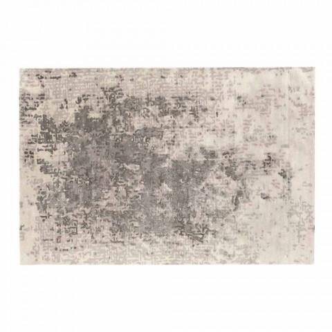 Alfombra rectangular de lujo para sala de estar en lana, algodón y viscosa Made in Italy