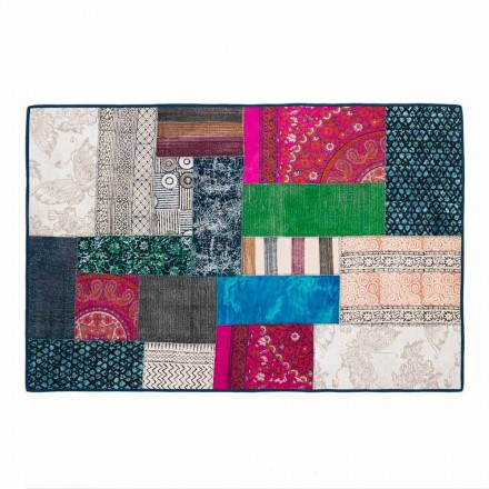 Alfombra rectangular en algodón Kilim azul o Patchwork de colores - Fibra