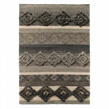 Alfombra rectangular de lana, algodón y viscosa para salón moderno - Zorro