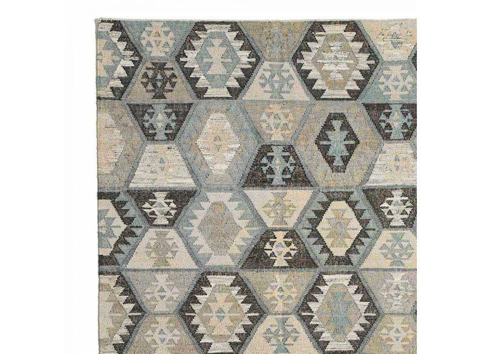 Alfombra de salón de yute, lana y algodón con diseño moderno - Ratta