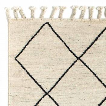 Alfombra de salón moderna con estampado geométrico en lana y algodón - Metria