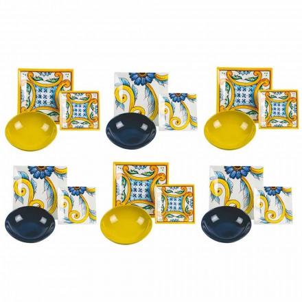 Elegante Conjunto de Mesa de Colores, Porcelana y Gres 18 Piezas - Azulejos