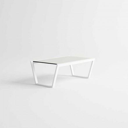 Mesa baja de jardín de diseño bajo en aluminio blanco - Louisiana3