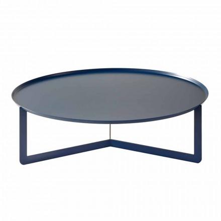 Mesa baja redonda para exteriores en metal coloreado Made in Italy - Stephane